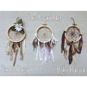 Mini Dreamcatcher || Choose from 3 || Bohemian || Floral || Feathers