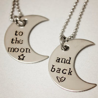 Hand Stamped Necklace Set To the moon and by StampedMemoriesbyMel