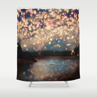 Love Wish Lanterns Shower Curtain by Paula Belle Flores