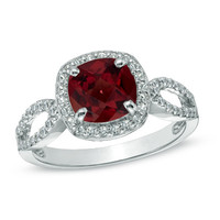 7.0mm Cushion-Cut Garnet and Lab-Created White Sapphire Ring in Sterling Silver