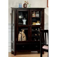 Coaster Virginia Bar Cabinet with Glass Doors and Wine Rack in Dark Cappuccino