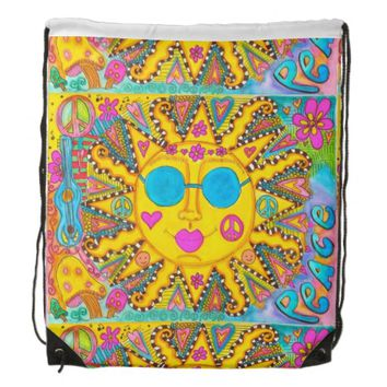 Hippie Sun Drawstring Backpack