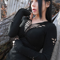 Goth Steampunk Post Apocalyptic Black Deconstructed Zombie Top