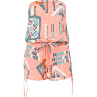 Coral Aztec Playsuit  - River Island