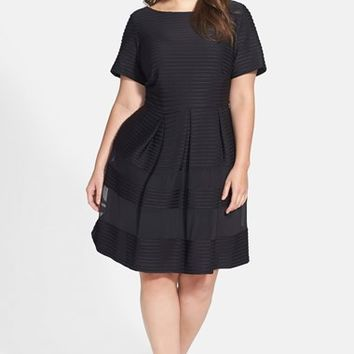Taylor Dresses Pintuck Fit & Flare Dress (Plus Size)