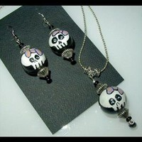 BOW on SKULL Pendant Necklace and Earring Set by WhiteOwlDesigns