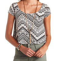 DOUBLE SCOOP PRINTED SWING CROP TOP