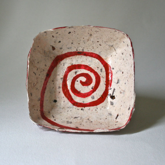 Paper Mache Bowl Square with Red Spiral by DebraGlanz on Etsy
