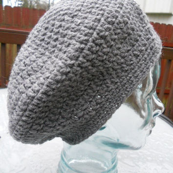 SPRING SALE!!  Crochet Slouchy Adult Hat beanie - Hunter grey