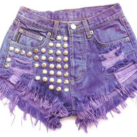 Studded high waist denim shorts XXS by deathdiscolovesyou on Etsy