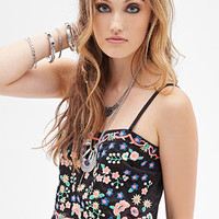 Floral-Embroidered Cropped Cami