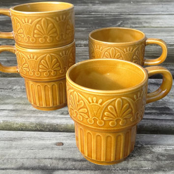 1970s (4) Stackable Coffee Cups Set Autumn Brown Vintage Mugs Made in Japan Mid Century Tea Cup
