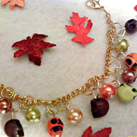 Autumn Skulls And Pearls Bracelet