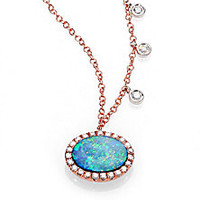 Meira T - Opal, Diamond & 14K Rose Gold Pendant Necklace - Saks Fifth Avenue Mobile