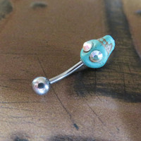 Day Of The Dead Belly Button Jewelry- Turquoise Skull Crystal Aroura Borealis Eye De Los Muertos Navel Piercing Ring Stud Bar Barbell
