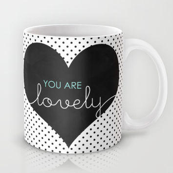 You Are Lovely - Typography, Charcoal Heart, & Black Polka Dots Mug by Tangerine-Tane