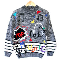 Vintage 80s Pop Music Tacky Ugly Cosby Sweater