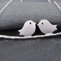 Kissing birds on a branch in white gold by atlantisjewelry on Etsy