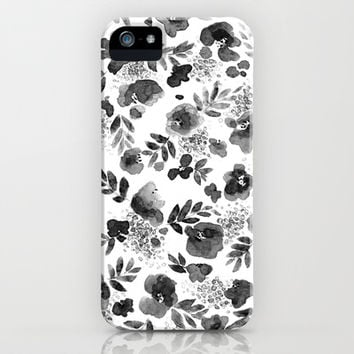 Floret Black and White iPhone & iPod Case by Jacqueline Maldonado