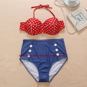 Sexy Vintage Retro high waist Polka Dot denim bikini print swimsuit set Push up swimwear Swimsuit bikini