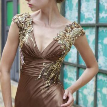 Sheath/Column V-neck Embellished Satin Floor-length Prom Dress at Dresseshop