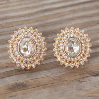 Splendora Oval Jewel Stud Earrings