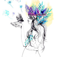 Nature Girl // giclée print by hollysharpe on Etsy