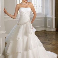 A-line Strapless Beading Chiffon Sweep Train Bridal Gown at Dresseshop
