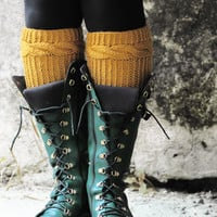 Knitted Boot Cuff Woman - Mustard Short Cable Knit Boot Cuff. Short Leg Warmers. Crochet Boot Cuffs. Knit Leg Warmers, Fall Boot Toppers,