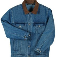 Dunbrooke Eldorado Coat Authentic Jean Jacket with Leather Collar. 8505