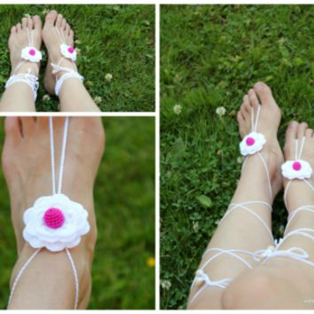 Crocheted Barefoot Sandals, Beach shoes, Wedding sandals