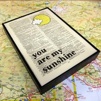 You Are My Sunshine Typographic Altered Book Art In Wooden Frame | Luulla