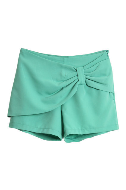 Bowknot Embellishment Green Shorts [NCSPM0133] - $32.99 :