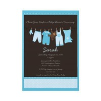 Blue Clothesline Baby Shower Invitation from Zazzle.com