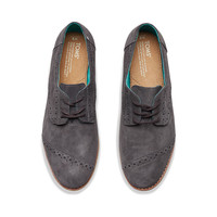 DARK GREY SUEDE WOMEN'S BROGUES