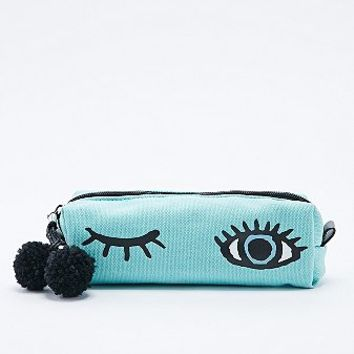 Blue Winking Eye Pencil Case In Cyan From Urban Outfitters