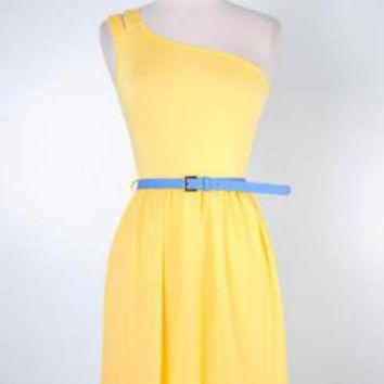 Yellow Party Dress - Yellow One Shoulder Dress with | UsTrendy