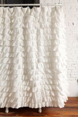 UrbanOutfitters.com &gt; Waterfall Ruffle Shower Curtain