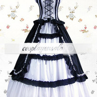 Lolita Costumes White And Black Cuff Sleeves Bandage Ruffled Cotton Classic Lolita Dress [T110123] - $77.00