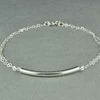 Curved Tube Bracelet 925 Sterling Silver by WonderfulJewelry