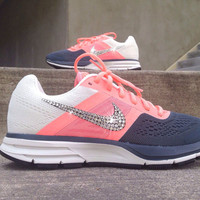 Nike Womens Air Pegasus+ 30 Training Running Jogging Shoes Customized with Swarovski Crystal Elements Rhinestones Coral Pink Charcoal Gray