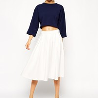 ASOS Pleated Front Midi Skirt at asos.com
