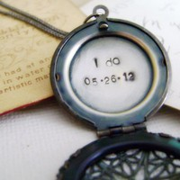 Locket Necklace Hand Stamped Secret Message - Wedding Keepsake Locket I Do | Luulla