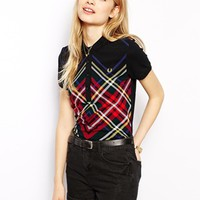 Fred Perry Plaid Polo Shirt - Black