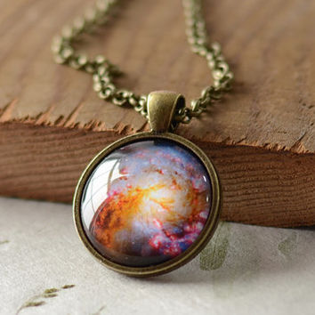Nebula Necklace, Space Galaxy Art Pendant,  Nebula Jewelry, Universe Stars Gift for Him or for Her (1250)