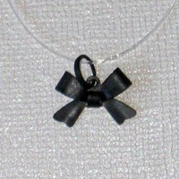 Little Black Bow Invisible Thread Choker Necklace | StarlightSarah - Jewelry on ArtFire