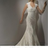 Trumpet/Mermaid Sweetheart Embroidery Lace Court Train Wedding Dress at Dresseshop