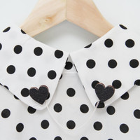 Black Glitter Heart Collar Clips