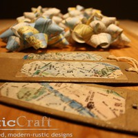 Paper Map Bows -upcycled- & Hang Tag Gift Wrap Set - Perfect For Gift Bags - World Travel - Cana | Luulla