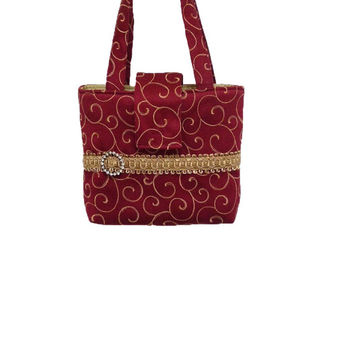 Burgundy evening bag, Burgundy gold bag, Christmas party bag, Rhinestone hand bag, Burgundy gold purse, Rhinestone tote bag